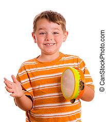 tocando, feliz, tambourine, isolado, criança, sorrindo, branca