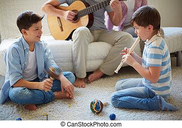 tocando, instrumentos musicais