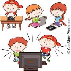 tocando, jogo computador, tabuleta, crianças
