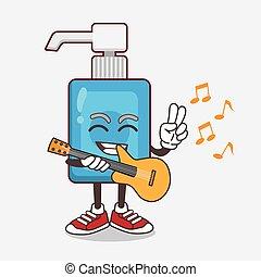 tocando, mão, guitarra, personagem, caricatura, sanitizer, mascote
