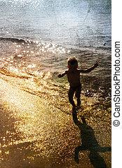 tocando, mar, criança