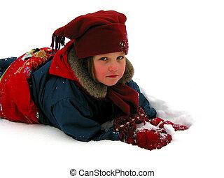 tocando, neve, criança