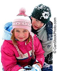 tocando, neve, crianças