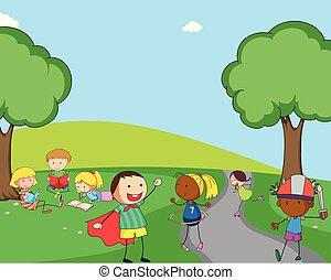 tocando, pátio recreio, crianças