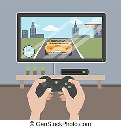 tocando, videogame, ligado, tv.