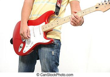 tocando, violão elétrico