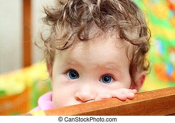 tocar, bebê, close-up