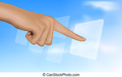 tocar, co, solução, mão, button.