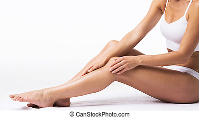 toccante, gambe, proprio, donna