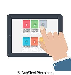 tocco, app, schermo, tavoletta, dito