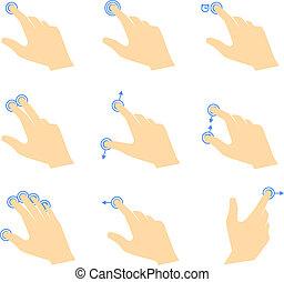 tocco, gesti, icone