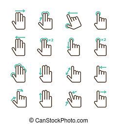 tocco, gesti, set, mano, icone