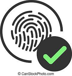tocco, id, digitale, scanning., scansione, icon., accettato, authentication., elettronico, impronta digitale, identificazione, sensore