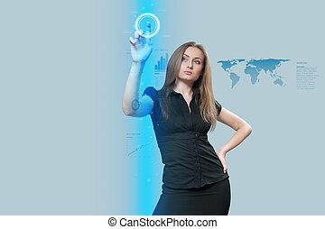 tocco, interfaccia, futuro, -, collezione