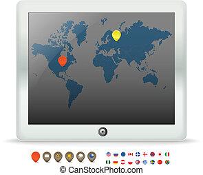 tocco, mappa, aggeggio, moderno, mondo