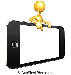 tocco, mobile, schermo, congegno