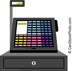 tocco, registro, contanti, schermo