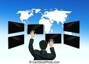 tocco, schermo,  computer, affari, uomo