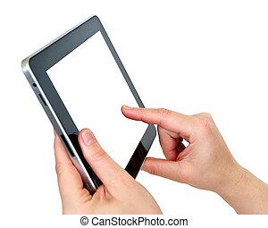 tocco, schermo, tavoletta, digitale