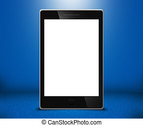 tocco, telefono, schermo, blu, fondo