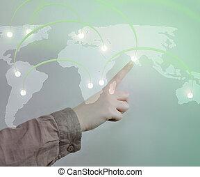tocco, uno, mappa mondo