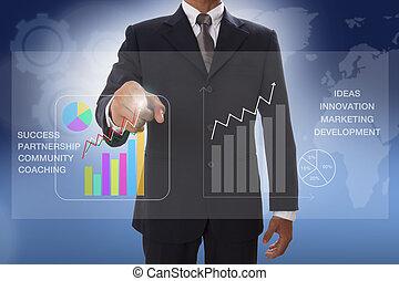 tocco, uomo affari, grafico, mano
