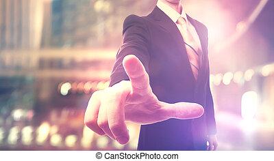 tocco, uomo affari, schermo, toccante