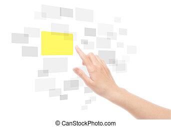 tocco, usando, schermo, interfaccia, mano