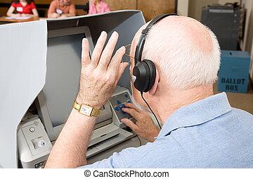 tocco, usi, uomo, schermo, anziano