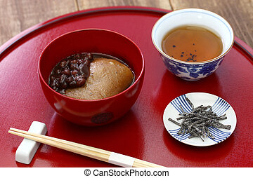 Tochi Mochi Zenzai, horse chestnuts rice cake with sweet...