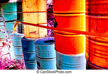 stacks of drum of chemical and inflammable substance