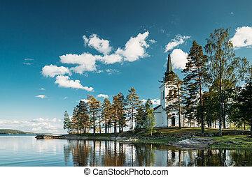 Tocksfors, Sweden. Stommen Church In Sunny Summer Day. Local Landmark.