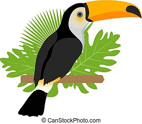 Toco toucan icon is a flat, cartoon style. Exotic bird sitting on a branch in the tropics. Isolated on white background. Vector illustration.