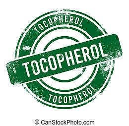 Tocopherol - green round grunge button, stamp