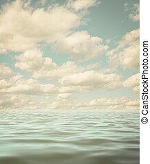todavía en calma, mar, o, aguas océano, superficie, viejo, foto, plano de fondo