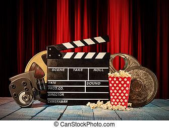 todavía, película, life., retro, producción, accesorios