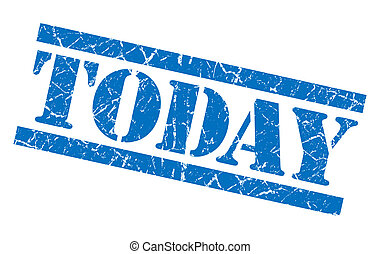 today blue square grunge textured isolated stamp
