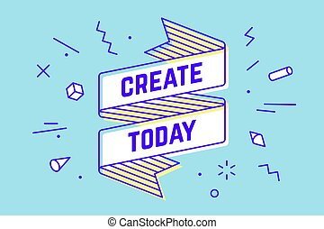 today., créer, bannière, ruban, vendange