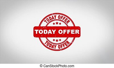 Today Offer Signed Stamping Text Wooden Stamp Animation. Red Ink on Clean White Paper Surface Background with Green matte Background Included.