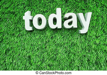 today word alphabet letter Top view on green artificial grass background