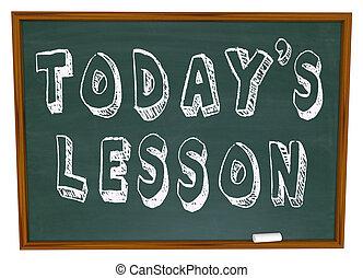 today's, lección, -, palabras, en, escuela, pizarra,...