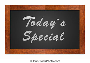 Today`s special written with chalk on a isolated blackboard with wooden frame