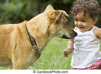 Toddler and Dog - Infant and family dog staring at each...