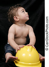 Toddler and hardhat