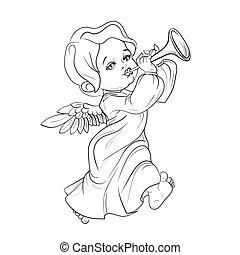 Toddler angel making music playing trumpet