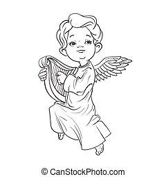 Toddler angel making music playing harp.