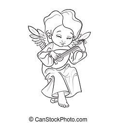 Toddler angel making music playing lute