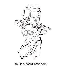 Toddler angel making music playing violin