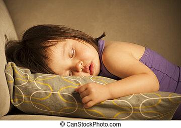 Toddler asleep - Baby girl taking a nap