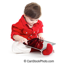 Toddler Baby playing with tablet